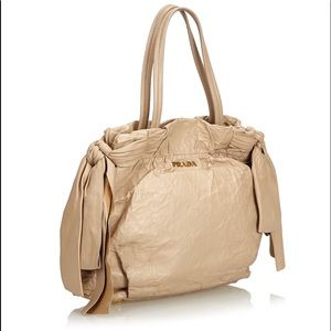 Prada Beige crinkle soft leather bow hobo tote bag